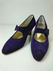 パンプス/ローヒール/ヒール/シューズ/靴/UK5.5/スウェード/紫/パープル/ストラップ