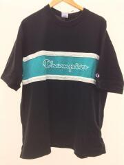 Tシャツ/L/コットン/ブラック/黒/切り替え/オーバーサイズ/ロゴ/トップス/カノコ