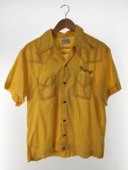 半袖シャツ/L/ボーリングシャツ/60~70年代/イエロー/黄色/ヴィンテージ/トップス