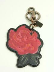 キーホルダー/チャーム/薔薇/ローズ/花/レザー/革/赤×黒/レッド×ブラック/レディース