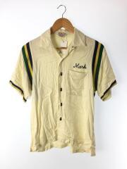 半袖シャツ/ボーリングシャツ/S/レーヨン/ベージュ/マルチカラー/無地/刺繍/ポケット