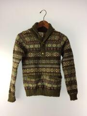 セーター(厚手)/ウール/グリーン/緑/総柄/ノルディック/ニット/ハイネック