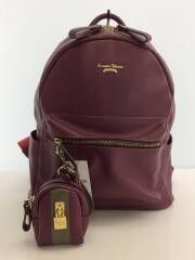 ジュモー/リュック/バッグ/鞄/レザー/ミニリュック付/カジュアル/紫/ワインレッド/無地