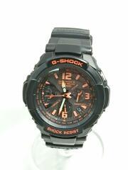 GW-3000B/SKY COCKPIT/パイロットウォッチ/ソーラー腕時計/アナログ/ラバー/黒