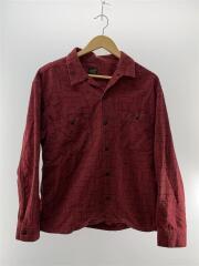 ネルシャツ/長袖/起毛/M/コットン/綿/レッド/赤/ブラック/黒/総柄/胸ポケット