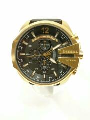 DZ-4344/クォーツ腕時計/アナログ/ビッグフェイス/黒/ブラック/ゴールド/クロノグラフ