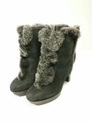 ショートブーツ/ハイヒール/シューズ/靴/36.5/黒/ブラック/スウェード/起毛/ムートン