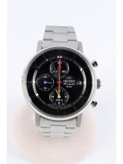 ソーラー腕時計/アナログ/ステンレス/BLK/SLV