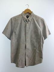 ボタンダウンシャツ/ドクロプリント/半袖シャツ/L/コットン/ストライプ