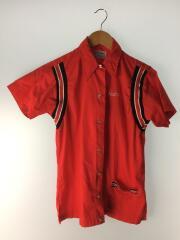 70年代/ボーリングシャツ/刺繍/半袖シャツ/34/コットン/RED