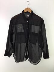 シアーバックスリットオーバーシャツ/長袖シャツ/FREE/BLK/200200002