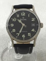 自動巻腕時計/アナログ/レザー/BLK/BVC301/ブローバ