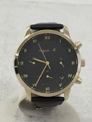 アニエスベー/ソーラー腕時計/アナログ/レザー/ブラック/ブラック/VR42-KDD0