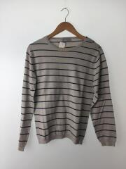 セーター(薄手)/M/コットン/IVO/ボーダー