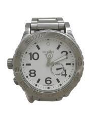 クォーツ腕時計/アナログ/ステンレス/WHT/SLV/THE42-20/クロノグラフ