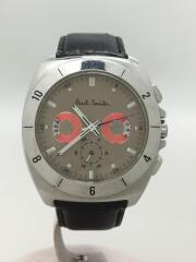クォーツ腕時計/アナログ/レザー/シルバー/ブラック/ディスクアイズ クロノグラフ