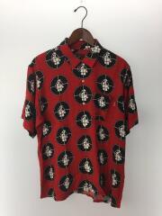 18SS/Public Enemy Rayon Shirt半袖シャツ/M/レーヨン/RED/総柄