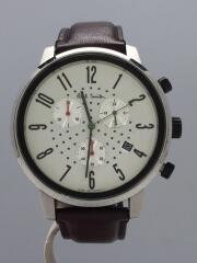 クォーツ腕時計/アナログ/レザー/WHT/BRW/J505-T021301