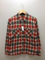 長袖シャツ/36/コットン/RED/チェック/ネルシャツ