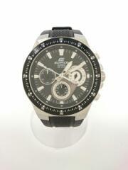 クォーツ腕時計/アナログ/ラバー/BLK/BLK/EDIFICE/クロノグラフ/EF-552