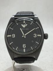 腕時計/アナログ/レザー/BLK/AR-0368