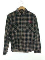 長袖シャツ/M/コットン/GRY/チェック/刺繍/ネルシャツ