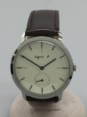 クォーツ腕時計/アナログ/レザー/WHT/VD78-KHB0