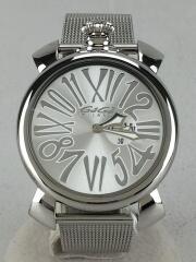 ガガミラノ/5080/マヌアーレスリム・46㎜/クォーツ腕時計/アナログ/ステンレス/SLV/SLV