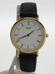 セイコー/5Y30-6000/クォーツ腕時計/アナログ/レザー/WHT/BLK