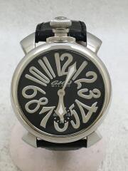 ガガミラノ/5010.04S/マヌアーレ・48MM/手巻腕時計/アナログ/レザー/BLK/BLK