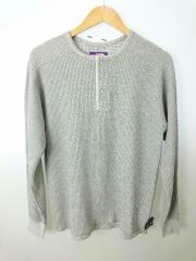 ヘンリーネックカットソー/S/コットン/GRY/無地/Henley Neck Thermal Shirt
