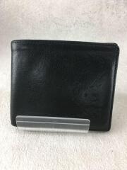2つ折り財布/レザー/BLK