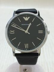 クォーツ腕時計/アナログ/レザー/GRY/BLK