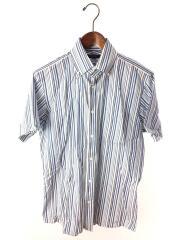 半袖シャツ/M/コットン/BLU/ストライプ