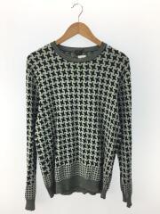 セーター(薄手)/L/コットン/BLU/総柄