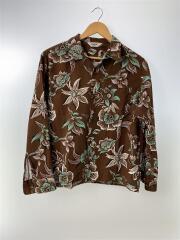 アロハシャツ/L/コットン/BRW/花柄/長袖