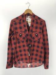 17SS HAORIcowboy shirt/長袖シャツ/44/コットン/RED/チェック/羽織/