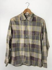 長袖シャツ/M/コットン/PUP/チェック/1950s~1960s/プリントネルシャツ
