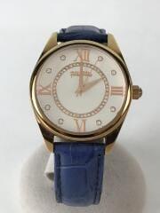 クォーツ腕時計/アナログ/レザー/WHT/BLU