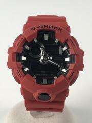 クォーツ腕時計/デジアナ/ラバー/BLK/RED