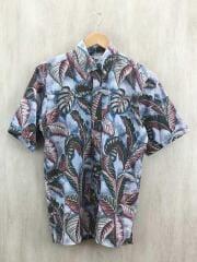半袖シャツ/S/コットン/BLU/総柄/アロハシャツ