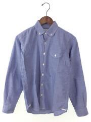 シャンブレ/オックスフォードボタンダウンシャツ/長袖シャツ/S/コットン/ブルー/中古
