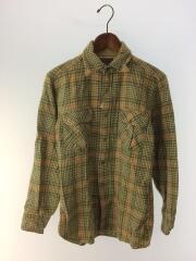 70s/ネルシャツ/ウールシャツ/長袖シャツ/M/ウール/グリーン/チェック