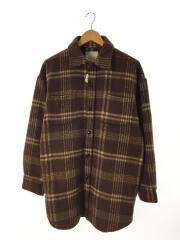 ウールロングシャツ/ジャケット/長袖シャツ/FREE/ポリエステル/ブラウン/チェック