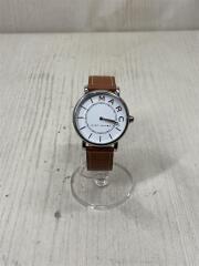 クォーツ腕時計/アナログ/レザー/WHT/CML/MJ1571