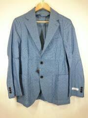 カラミシャツジャケット/テーラードジャケット/S/コットン/BLU/無地/117-01-2541