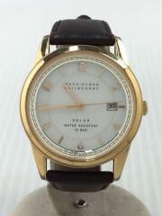 マッキントッシュフィロソフィー/ソーラー腕時計/アナログ/レザー/WHT/BRW/v157-0bk0