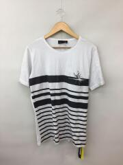 Tシャツ/L/コットン/WHT/ボーダー