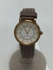 クォーツ腕時計/アナログ/レザー/WHT/BRW/MJ1538/本体のみ