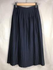 シルクウールサージロングプリーツスカート/1217-93077/SIZE:36/シルク/ネイビー/無地